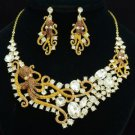Trendy Brown Octopus Necklace Earring Set W/ Rhinestone Crystals