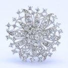 """Clear Flower Broach Brooch Pin Rhinestone Crystals 2.1"""""""