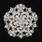 """Rhinestone Crystals Clear Round Flower Brooch Broach Pin 2.4"""" For Wedding"""