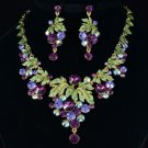 Swarovski Crystals High Quality Pretty Purple Grape Necklace Earring Set