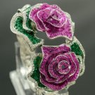 Fashion Amethyst Leaf 2 Rose Flower Bracelet Bangle W/ Swarovski Crystals