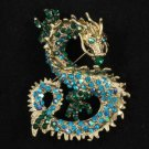 """New Cute Animal Blue Zircon Dragon Brooch Pin 2.4"""" w/ Rhinestone Crystals"""