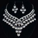 Wedding H-Quality Glitzy Clear Flower Necklace Earring Set W/ Swarovski Crystals
