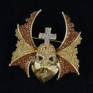 "Breathtaking Wing Cross Heart Skull Brooch Pin 2.8"" W/ Brown Rhinestone Crystals"