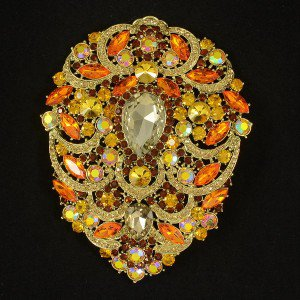 Hot Swarovski Crystals Big Drop Topaz Pendant Flower Brooch Pin 4.9""