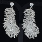 Gorgeous Peacock Feather Earring W/ Clear Swarovski Crystals