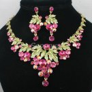 High Quality Leaf Grape Necklace Earring Set Pink Swarovski Crystals