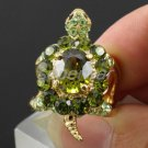 Swarovski Crystals Cocktail Green Animal Turtle Tortoise Cocktail Ring 6#