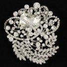 """Clear Flower Pendant Brooch Pin 3.1"""" W/ Rhinestone Crystals"""