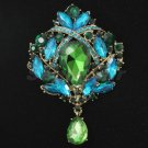 Rhinestone Crystals Elegant Green Flower Brooch Broach Pin 3.5""