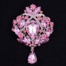 """Rhinestone Crystals Pretty Pink Flower Brooch Broach Pin 3.5"""""""