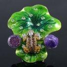 Swarovski Crystals High Quality Lotus Leaf Frog Cocktail Ring USA:7#, UK:N 1/2