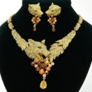 New High-Quality Animal Wolf Necklace Earring Set W/ Brown Swarovski Crystals