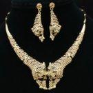 Wild Animal Brown 2 Tiger Necklace Earring Set W/ Swarovski Crystals