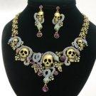 Excellent Swarovski Crystals Puprle Snake Skull Necklace Earring Set 4 Halloween