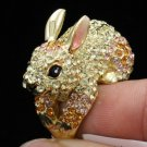Swarovski Crystals Cocktail Vogue Yellow Bunny Rabbit Ring Size 7#