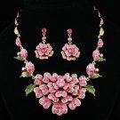 Swarovski Crystals H-Quality Pink Floral Flower Necklace Earring Set