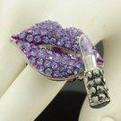 Silver Tone Purple Lipstick Lip Ring Adjustable Rhinestone Crystals