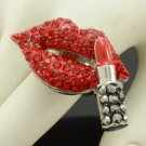 Silver Tone Red Lipstick Lip Ring Adjustable Rhinestone Crystals