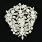 "Rhinestone Crystals New Clear Flower Brooch Broach Pin 2.5"" For Wedding"