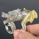 Silver Tone Cocktail Animal Dragon Ring Size 8# W/ Clear Swarovski Crystals