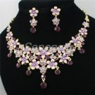 High Quality Enameled Flower Necklace Earring Set  Purple Swarovski Crystals