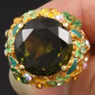 Green Zircon Flower Cocktail Ring Size 7# W/ Swarovski Crystals