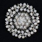 """Round Flower Brooch Pin 2.0"""" W/ Clear Rhinestone Crystals Bridal"""