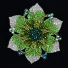 "New Hot Beautiful Green Flower Brooch Pin 4.1"" W/ Rhinestone Crystals"