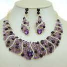 Amethyst Rhinestone Crystals Charm Simple Vogue Necklace Earring Set