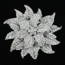 """4.1"""" Clear Swarovski Crystals Leaf  Flower Brooch Pin"""