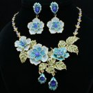 Pretty Blue Rose Flower Necklace Earring Set W/ Swarovski Crystals