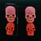 Swarovski Crytals Trendy Red Drop Dangle Pierced Skull Earring For Halloween