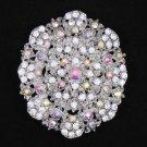"""Swarovski Crystals Clear A/B Ellipse Flower Brooch Broach Pin 2.7"""" For Wedding"""