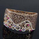 Fashion Leopard Grain Bracelet Bangle Cuff W/ Mix Swarovski Crystals