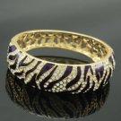 Gold Tone Trendy Purple Tiger Grain Bracelet Bangle W/ Swarovski Crystals