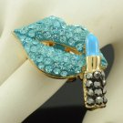 Gold Tone Indicolite Lipstick Lip Ring  Adjustable W/ Rhinestone Crystals
