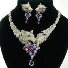 High-Quality Animal Wolf Necklace Earring Set W/ Purple Swarovski Crystals