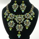Swarovski Crystals Green Multi Leaves Skull Necklace Earring Set For Halloween