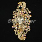 Swarovski Crystals Relative Fashion Drop Brown Flower Brooch Pin 4.5""