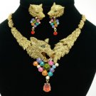 High-Quality Multicolor Animal Wolf Necklace Earring Set W/ Swarovski Crystals
