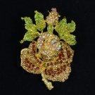 "Swarovski Crystals Brown Rose Flower Brooch Pin 2.6"""