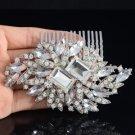 Bridal Flower Hair Comb Pieces W/ Clear Rhinestone Crystals For Wedding