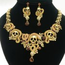 Excellent Swarovski Crystals Brown Snake Skull Necklace Earring Set 4 Halloween