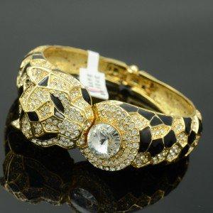 Swarovski Crystals H-Quality Gold Tone Panther Leopard Bracelet Bangle Cuff