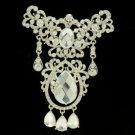 """Wedding Dangle Drop Clear Flower Brooch Broach 4.1"""" W/ Rhinestone Crystals"""