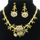 Gold Tone Bamboo Animal Panda Necklace Earring Jewelry Sets Swarovski Crystal