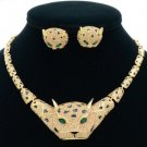 Panther Leopard Spot Necklace Earring Set Brown Swarovski Crystals High Quality