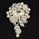 "Rhinestone Crystals Silver Tone Clear Flower Brooch Broach Pin 3.1"" For Wedding"