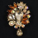 Rhinestone Crystals Chic beauty Brown Flower Pendant Brooch Pin W/ 3.1""